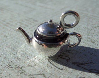 17mm Silver and Black Teapot Charm, (Y14)