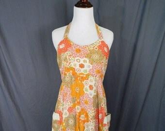 Vintage 70s Floral Maxi Sun Dress Women's M / L