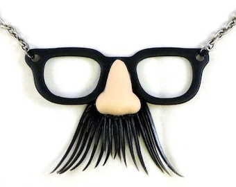 Master of Disguise Necklace - Funny Disguise Glasses with Mustache Quirky Necklace by Weirdly Cute Jewelry