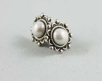 Oxidized Silver Post Earrings, Silver Stud Pearl Earrings, Surgical Steel Post Earrings, Gift Idea For Her