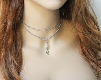Dainty Silver Cross Lariat Necklace, Women's Silver Choker Necklace, Thin Silver Religious Jewelry