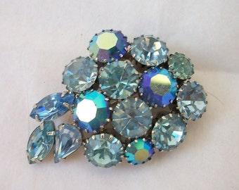 Vintage  Big Blue and AB Mix ~ Rhinestone Leaf Brooch ~ Dazzling