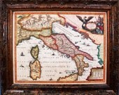 Italy Map Print of a 1649 Map on Parchment Paper