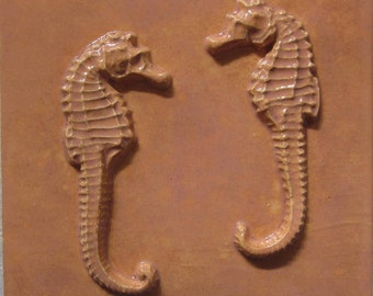 Seahorse Ceramic Tile -- 4x4 Relief Tile, MADE TO ORDER, accent tile, seahorses, beach, seashore, kitchen tile, bathroom tile, beach house