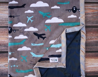 Baby Minky, Aviator Blanket, Airplane Blanket, Airplane Minky, Aviator Minky, Boy Minky, Baby boy blanket, Planes Trains and Automobiles