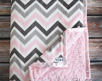 Minky Blanket, Large Blanket, chevron blanket, pink grey and white, chevron minky, minky for baby, gift for child, baby gift