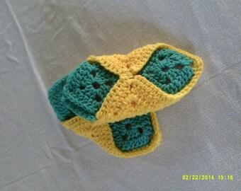 Crochet granny square slippers, kids