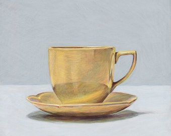 Teacup. Original egg tempera painting, framed.
