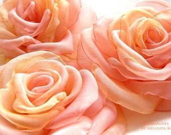 ROSE - brooch or hair clip-Bridal Waist Brooch - peach and pink