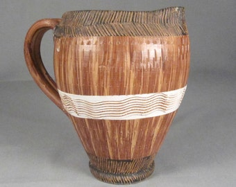 Italian Midcentury Pitcher, Sgraffito Design,