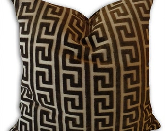 Brown Velvet Pillow Cover-- 18x18 or 20x20 or 22x22 Geometric Decorative Throw Pillow--Accent Pillows