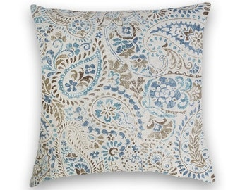 Blue Brown Paisley Pillow Cover--Decorative Pillow Cover  18x18 or 20x20 or 22x22 Throw Pillow- Accent Pillow