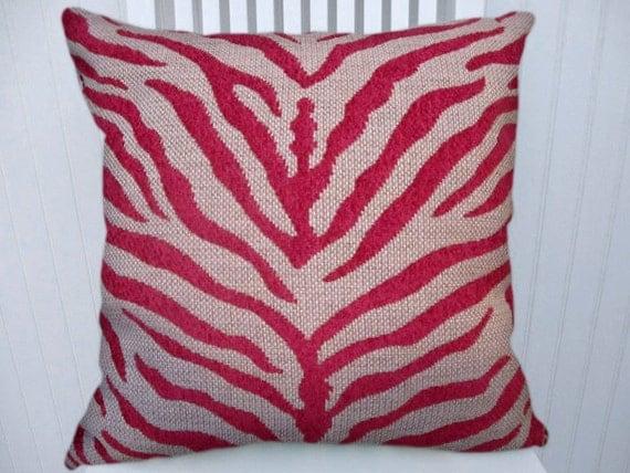 Items similar to Fuchsia Zebra Decorative Pillow Cover 18x18 or 20x20 or 22x22-Duralee Zebra ...