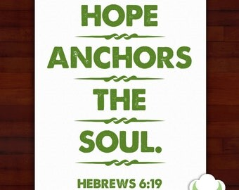 Greeting card: Hope anchors the soul — sympathy, encouragement, inspiration, typography