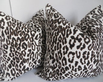 Leopard Pillow Cover, Brown  and White Pillow cover, Leopard Brown Pillow, White Black Pillow, Black Brown Pillow Cover, Cheetah Pillows