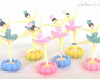 LiTTLe RoseBud Ballerina cupcake toppers--12ct pink, blue or yellow--ballerina theme--ballet--girls-birthday party