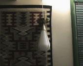Vtg. 1960's Moe Light Pendent Swag hanging mid centery modern glass brass lamps