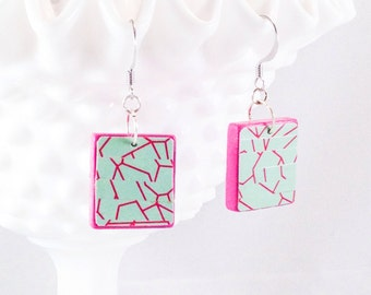 Mint Green and Pink / Eco-friendly Jewelry / Upcycled Statement Earrings