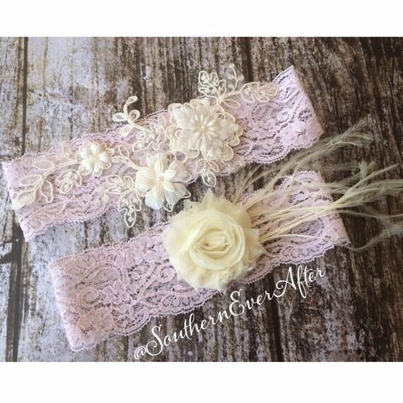 """Blush Lace Garter Set The """"Clara""""  / bridal garter/ lace garter / toss garter / wedding garter / vintage / Shabby Chic"""