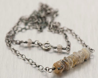 Golden Quartz Bar Necklace | Gemstone Bar Necklace | Oxidized Sterling Silver Necklace NS50