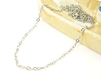 24 Inch Antique Silver Necklace Chain Medium Link Antique Silver Plated Oval Chain |CH2-Med-AS24