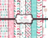 Pink and Blue Kitchen Digital Paper Background Set