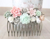 Woodland Wedding Comb Blush Pink Mint Green Hair Pin Pastel Colors Bridesmaid Gift Flower Rose Colorful Floral Head Piece Secret Garden