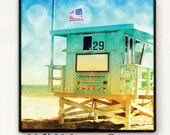 Lifeguard Tower, Surf Art Large Canvas Wall Art, Santa Monica California Large Canvas Beach Decor, Retro Surf Art