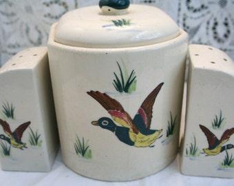 Vintage Ceramic Table Set Salt, Pepper, Sugar Bowl