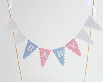 Baby Shower Cake Bunting Topper - Pink, Blue, White -  Boy, Girl, Twins - Gender Reveal Party