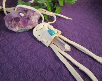 Quartz Crystal Point Leather Necklace with Turquoise, Native American Style Jewelry, Pagan Wiccan Crystal Energy Quartz Healing Pendant