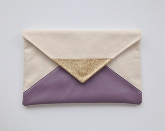 Glitter & Purple Envelope Clutch
