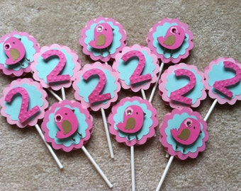 Birdie Cupcake Toppers, Number Cupcake Toppers, Birdie Birthday, Custom Age Cupcake Topper, Birdie Party, 12 pc Custom Made to Order