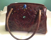 Vintage purse, 1954 Leather Mexican Tooled Handbag