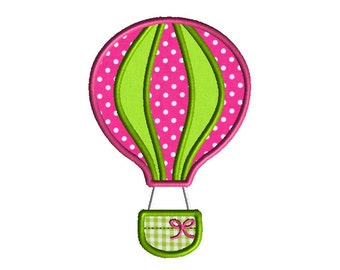 Hot Air Balloon Applique Machine Embroidery Design-INSTANT DOWNLOAD