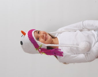 Snuggly Snowman Earflap Hat