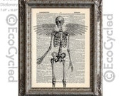 Human Skeleton 7 with Wings on Vintage Upcycled Dictionary Art Print Book Art Print Recycled Angel Wings Butterfly wings Bird Wings