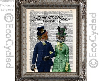 Steampunk Cats In Love with Names & Date on Vintage Upcycled Dictionary Art Print Book Art Print Anniversary Wedding Victorian Customized
