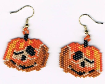 Hand Beaded Jack O Lantern Pumpkin #5 earrings