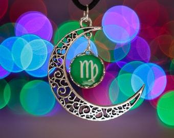 Virgo Zodiac Moon Necklace