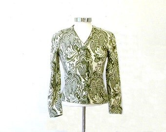 Amazing Wool Paisley Cardi / 60s Wool Sweater / Womens Cardigans / Fitted Cardigan / 1960s clothing