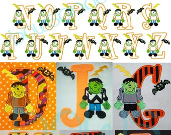 Halloween embroidery frankenstein font applique designs instant download