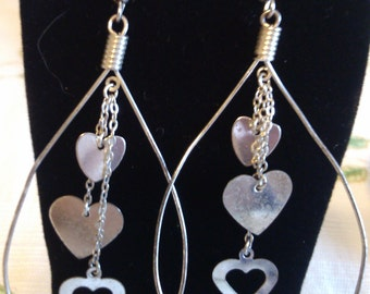 """REDUCED  3"""" Heart and Hoop Dangles on French Hooks"""