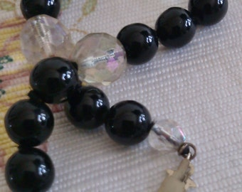 Onyx and AuroraFaceted Crystal Bracelet with Sterling Box Clasp