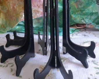 6 Used Wood Plate or Picture Stands, Sold Separately