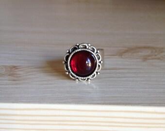 Garnet Antique Silver Adjustable Ring
