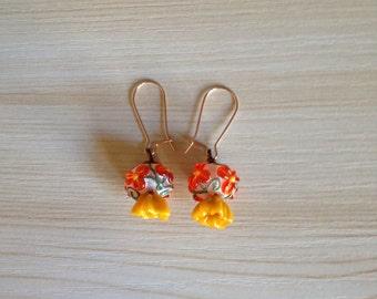 Beautiful Vermilion Flower Earrings