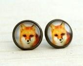 Fox Earrings .. orange studs, animal earrings, fox post earrings, small earrings, wildlife earrings