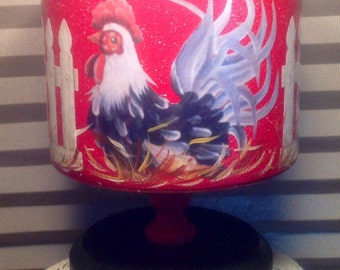Rooster Canister on  Pedestal..Up Cycled Vintage Canister.Rooster Kitchen.Country Home.Kitchen Decor. Housewarming Gift. Home Decor.