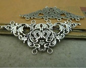 5 pcs 68x32mm Antique silver large flowers waves lots of loops connectors links Charms Pendants fc95644